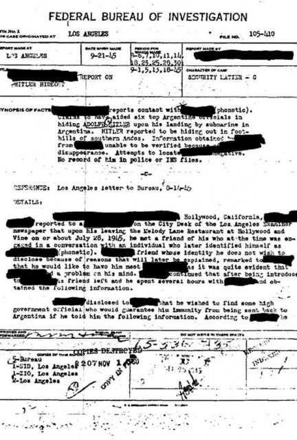 hitler dokaz fbi da je pobegao u argentinu