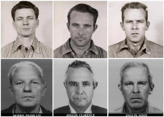 Combination of mug shot of convicts Frank Lee Morris, Clarence Anglin and John Anglin, who escaped Alcatraz Island 50 years ago