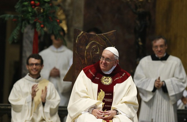 Pope Francis celebrates Mass at Church of the Gesu in Rome