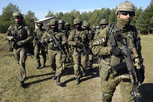 Polish servicemen take part in military exercises outside the town of Yavoriv near Lviv