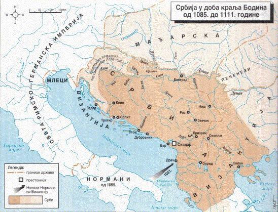 Srbija-u-doba-kralja-Bodina mapa karta od 1085 do 1111