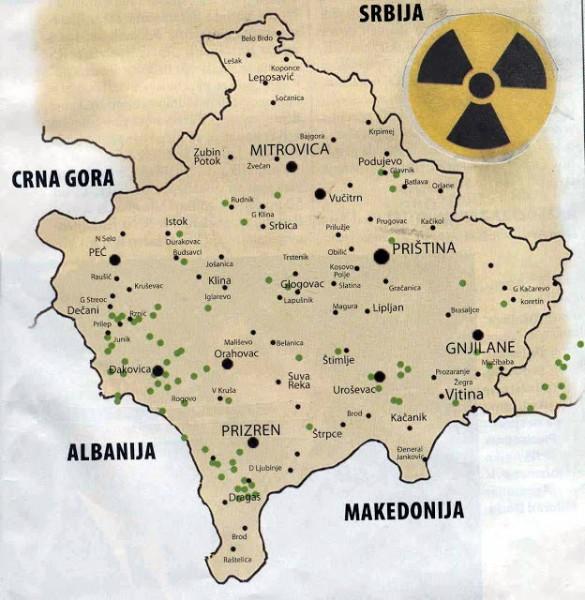 kosovo mapa uranijumskih bombi